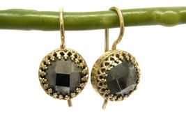 Pyrite earrings,gold earrings,gemstone earrings,gold dangle earrings - $52.00+