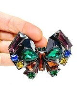 "2.75"" Wide Multicolor Rhinestones Stylized Butterfly Statement Brooch Pin  - $15.20"