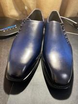 Handmade Men's Blue Leather Dress/Formal Shoes image 1