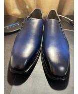 Handmade Men's Blue Leather Dress/Formal Shoes - $119.99