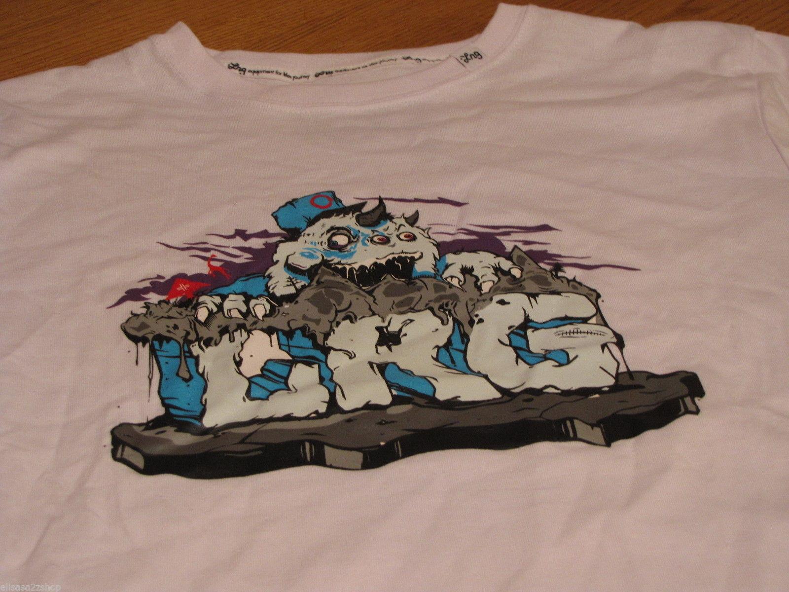 Boy's youth white LRG brand monster T shirt premium fit XL RARE logo NEW NWT