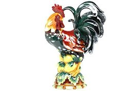 Pacific Giftware Decorative Rooster Standing on Fruit Ceramic Statue Fig... - $80.19
