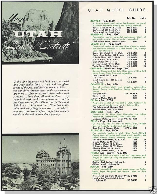 1959 UTAH/UT MOTEL GUIDE, Salt Lake/Provo/Ogden/Logan
