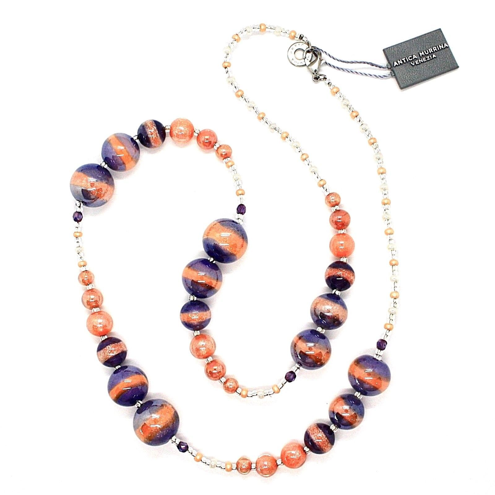NECKLACE ANTICA MURRINA VENEZIA WITH MURANO GLASS ORANGE PURPLE CO933A25