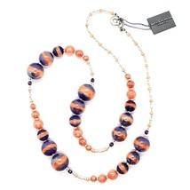 NECKLACE ANTICA MURRINA VENEZIA WITH MURANO GLASS ORANGE PURPLE CO933A25 - $108.99