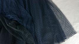 Navy Polka Dot Tulle Skirt Navy Long Tulle Skirt Wedding Guest Outfit image 6