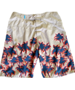 TED BAKER Mens Beige Taupe Swim Trunks Board Shorts M Palm Trees Blue Or... - $32.18