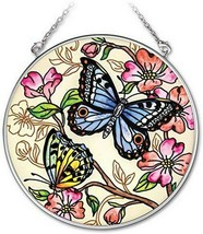 """Le Jardin Butterfly Sun Catcher AMIA Hand Painted Glass 4.5"""" Round New  - €19,83 EUR"""