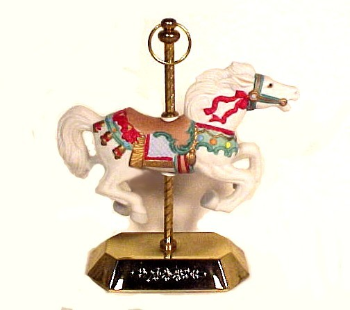 1993 Hallmark Tobin Fraley Carousel Christmas Ornament with Stand