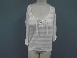 SPLENDID Ivory Polyester Blend Casual V Neck Striped Knit Top Size S CC2231 - $29.69