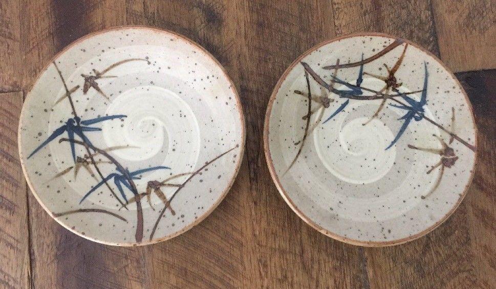 Japanese Bamboo Leaf Speckled Stoneware Ceramic Washbi Soy Sauce 2 Dish VTG