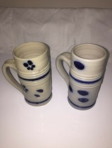 2 Blue Decorated Pottery Mugs. - $3.47