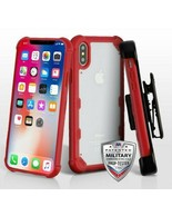 For APPLE iPhone XS/X Clear/Red FreeStyle Challenger Hybrid Case Cover - $14.56