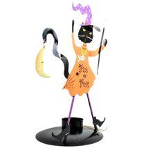 Dancing Black Cat Trick or Treat Orange Costume Halloween Tealight Candle Holder image 4