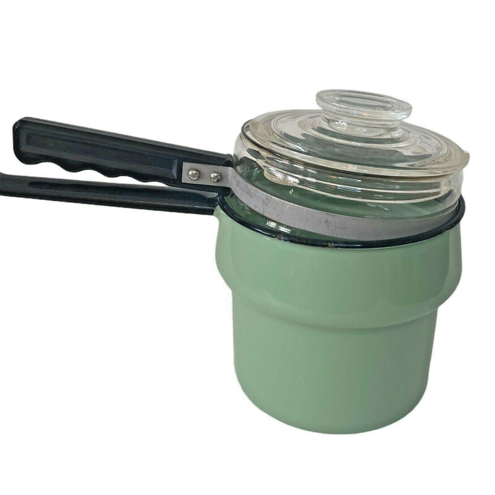 Vintage ENAMELWARE & PYREX Double Boiler Pot Green W/ Lid & Black Trim - $68.59