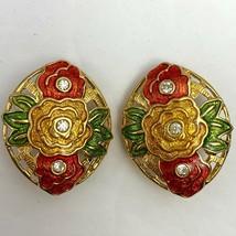 Vintage Bob Mackie Clip On Earrings Enamel Flower Floral Clear Rhinestone - $24.70