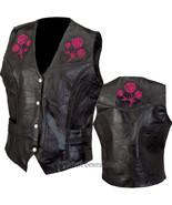 Womens Ladies Black Leather Plus Vest with Rose Motorcycle Biker Braided... - $20.98