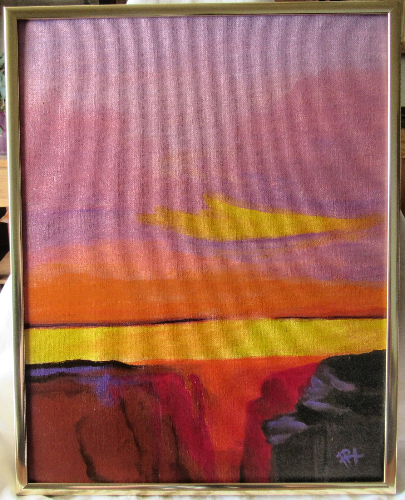 Canyon Sunset Original Acrylic canvas Board with Gold Metal frame Signed
