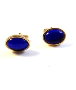 Vintage 1950's - 70's Gold Tone Sparkly Blue Stone Anson Cufflinks - $22.99