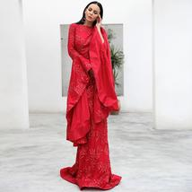New Arrival Top Quality ONeck Flare Long Sleeve Celebrity Red Party Dress image 3