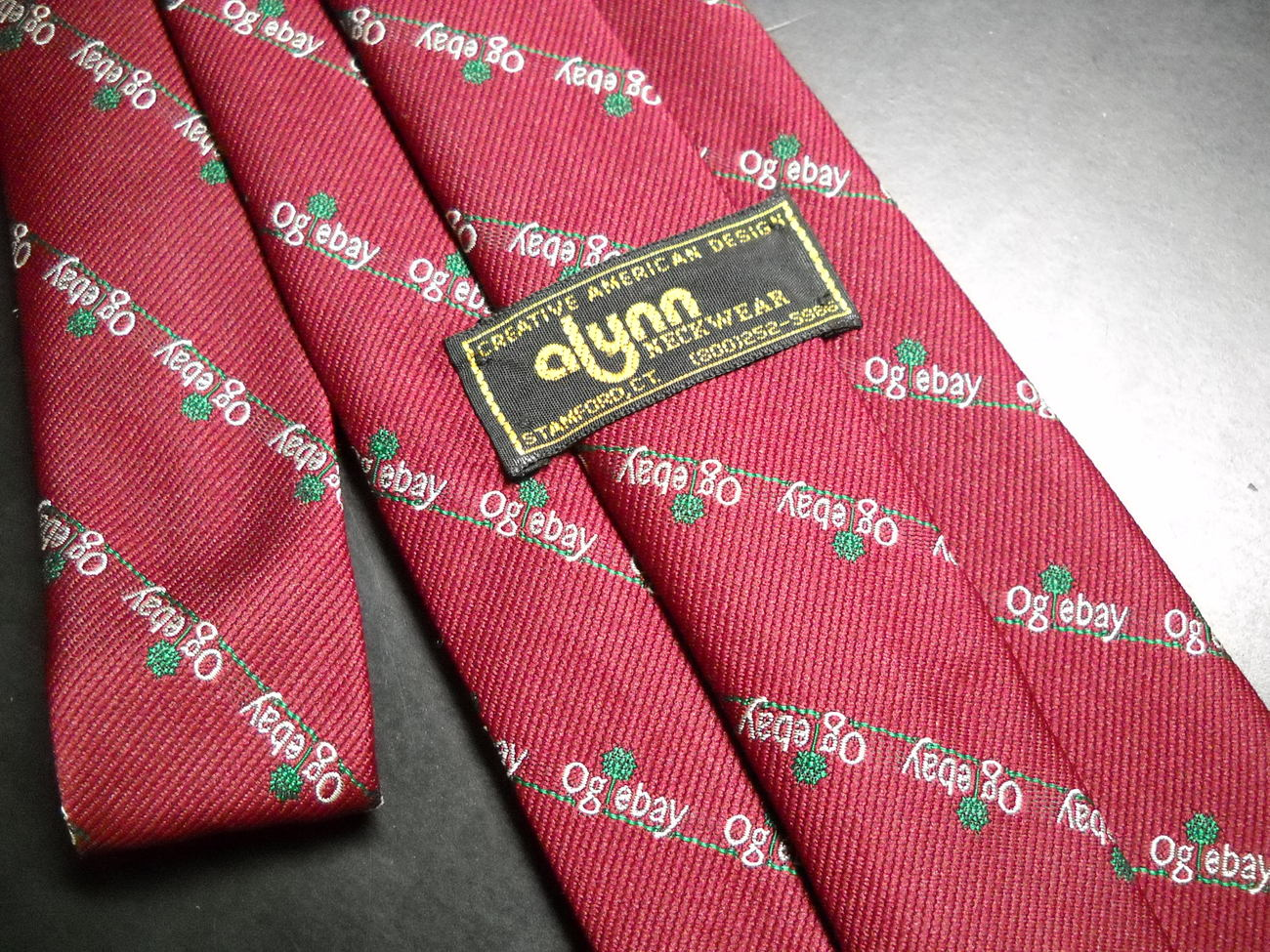 Alynn Neckwear Neck Tie Oglebay Resort Dark Red Diagonal Stripes of Oglebay Logo