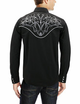 Men's Western Rodeo Style Cowboy Embroidered Tribal Print Dress Shirt w/ Defect image 2