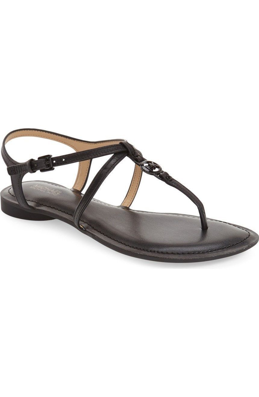 Michael Kors MK Women's Premium Designer Bethany Leather Sandals Black size 5