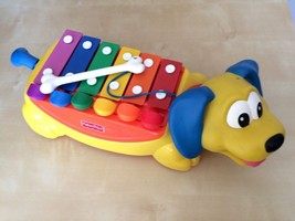 Fisher Price Vintage Rolling Children's Xylophone Piano Wiener Dog with Bone  - $16.28
