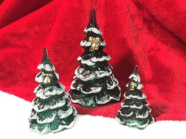 Fenton Art Glass Christmas Tree Trio 3 Green Snow Covered with Bow - $150.00