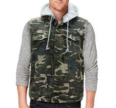 CS Men's Ripped Distressed Button Up Denim Jean Vest Removable Hood Slim Fit image 15