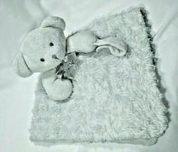 Blankets & Beyond Grey Swirl Bear Security Lovey Pacifier Holder Fleece ... - $12.60