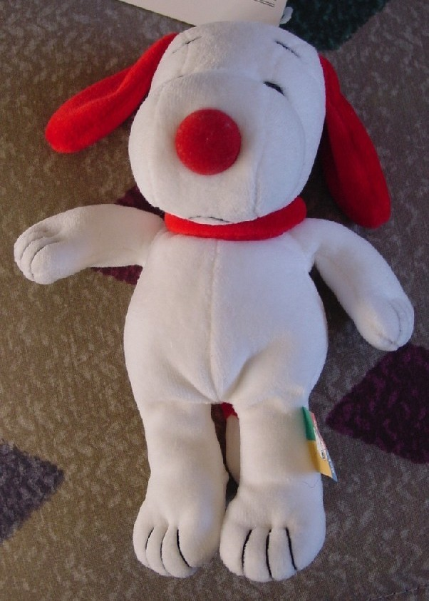 Peanuts Snoopy RED and white plush w/rattle NWT - Prestige