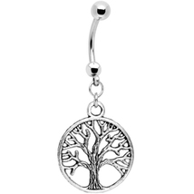 Tree of Life Stainless Steel Belly Ring - $11.99