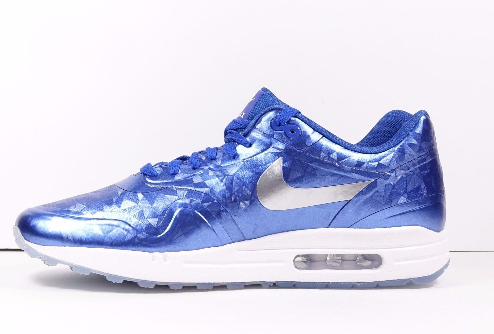 timeless design 2d2d0 5c74a Nike Air Max 1 ID Blue White Ice Sole Sz 10.5 Reflective Blue Silver White  New