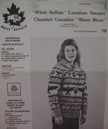 Vintage White Buffalo Canadian Sweater Knitting Pattern - $6.99