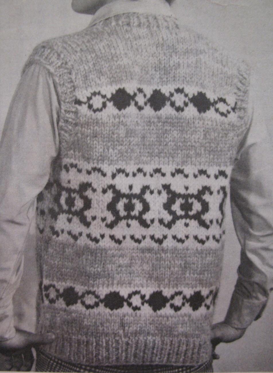 White Buffalo Adult Sweater Vest Knitting Pattern