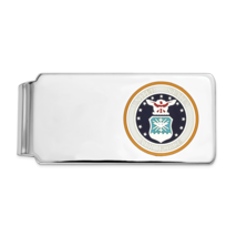 Sterling Silver Rhodium-Plated U.S. Air Force Money Clip, Blue Backgroun... - $70.82