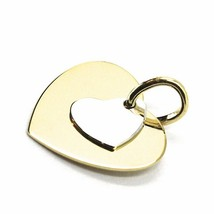 18K YELLOW WHITE GOLD PENDANT DOUBLE FLAT HEART, LENGTH 12mm, 0.47 inches image 2