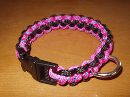 """Dog Collar Hot Pink and Black Paracord 11"""" Non Adjustable Handcrafted - $7.00"""