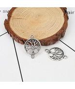 28mm Tree of Life Charms Antique Silver Plate Connectors 20 PCs - $13.37