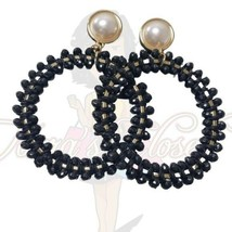 NY&C Women's Black Round Beaded Faux Pearl Post Dangle Earrings Fashion ... - $15.00