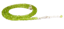 3-4MM Natural Perodot Faceted Beads Beaded 925 Sterling Lock Necklace Je... - $19.41+