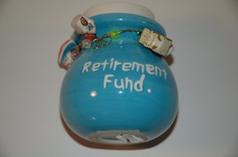 Coin Bank retirement fund  money novelty charms   still has bottom plug - $9.99