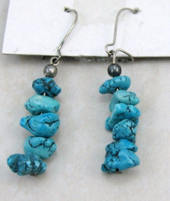 GENUINE GEMSONE Turquoise CHIPS/NUGGETS SIVER WIRE DANGLE EARRINGS NEW
