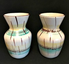 West Germany Vase 2 Vintage Mid Century Art Pottery Vases 5 5/8 inches Tall - $74.24