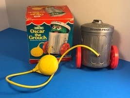 1977 FISHER PRICE SESAME STREET OSCAR GROUCH SQUEEZE BULB TOY VINTAGE BO... - $94.05