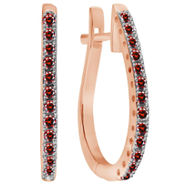 1/2 Carat Round Garnet New Hoop Earrings In 14K Rose Gold Over - $65.50
