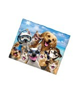 Dogs And Cats Beach Party Selfie Super Soft Plush Fleece Throw Blanket - £28.65 GBP