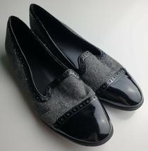 Franco Sarto Loafers/Flats. Women's Size 7.5.Black / gray Tweed. Fabric - $19.79