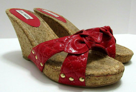 Steve Madden Corre Cork Wedge Leather Quilted Sandals Red Shoes Womens S... - $39.59
